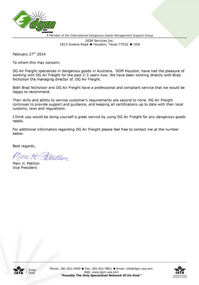 DG AirFreight Letter of Recommendation